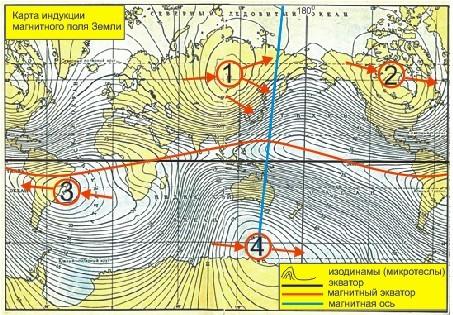 карта напряженности магнитного поля