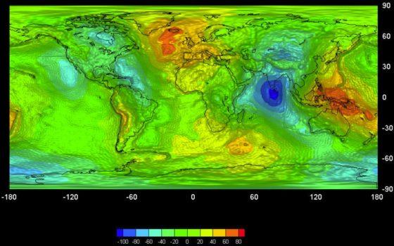 Гравитационная карта Земли